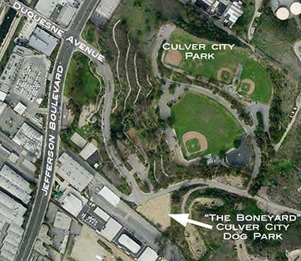 Aerial photo of Culver City Park with the dog park location shown.